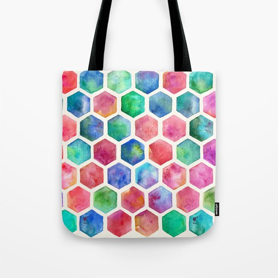 Hand Painted Watercolor Honeycomb Pattern Tote Bag