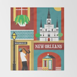 New Orleans, Louisiana - Collage Illustration by Loose Petals Throw Blanket
