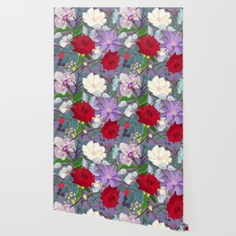 Red Rose, Orchid Red Fruits Vibrant Colorful Pattern Wallpaper