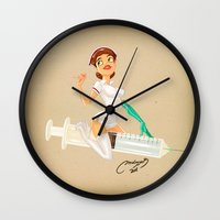 nurse Wall Clocks featuring nurse by Melissa Ballesteros Parada