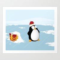 Suspicious penguin Art Print