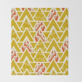 Triangles and lines in yellow Throw Blanket
