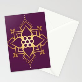 Indian Golden Art Lotus flower Mandala Pattern with Elegant Fuxia background color Stationery Cards