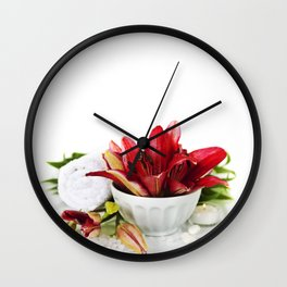 Spa concept (flowers, towel and sea salt). White background Wall Clock