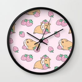Pink Strawberries and Guinea pig pattern Wall Clock