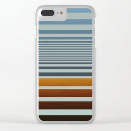 Masculine Grey Blue Wood Grain Gradient Stripes Clear iPhone Case