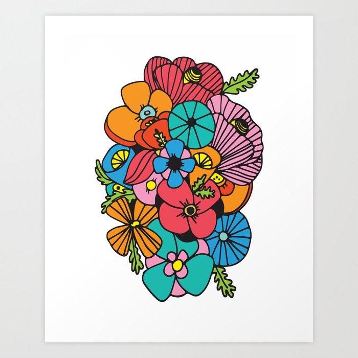 Flowers (White Background) Art Print