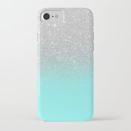 Modern girly faux silver glitter ombre teal ocean color bock iPhone Case