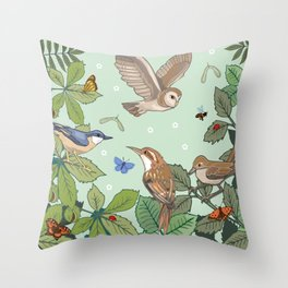 Woodland Birds Throw Pillow