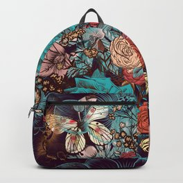 Beautiful print with hand drawn roses and butterflies in vintage style Backpack