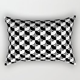 Black and White Checkerboard Checked Squares with French Fleur de Lis Rectangular Pillow