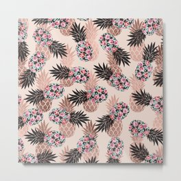 Pretty Pink Rose Gold Floral Pineapple Fruit Pattern Metal Print