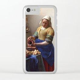 Jan Vermeer-The Milkmaid Clear iPhone Case