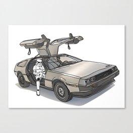 Stormtroooper in a DeLorean - star wars Canvas Print