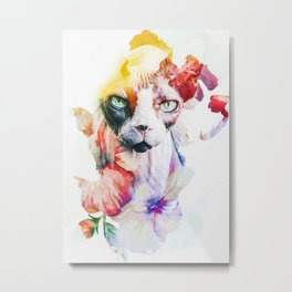Flowers Cat Metal Print
