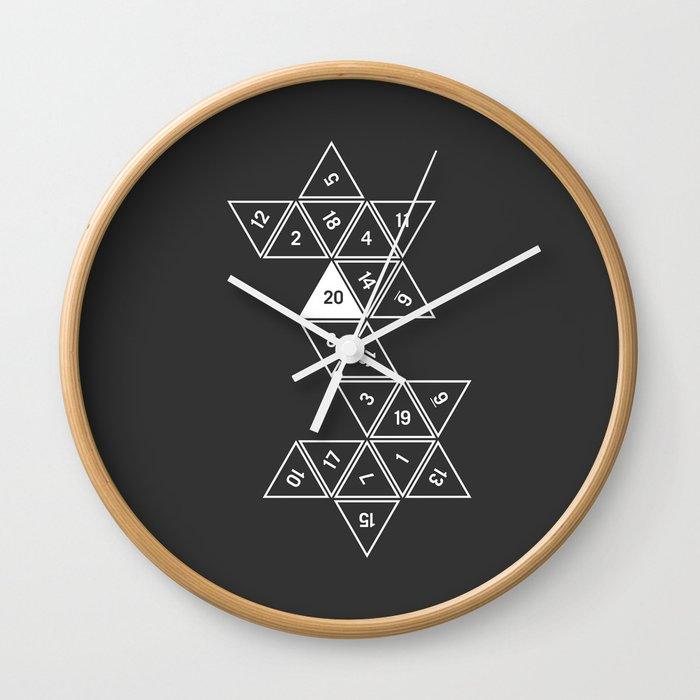 Unrolled D20 Wall Clock