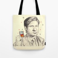 mulder Tote Bags featuring Mulder by withapencilinhand