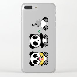 Three Little Pandas Clear iPhone Case