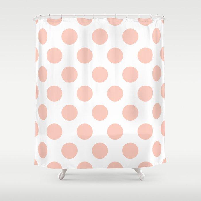 Peach Polka Dots Shower Curtain