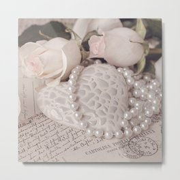 Soft Pink Nostalgic Rose and Heart Still Metal Print