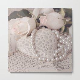 Soft Pink Nostalgic Rose and Heart Still Metal Print