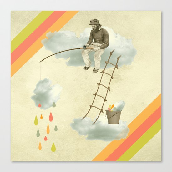 The fisherman who was cleaning the sky from the clouds Canvas Print