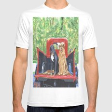 Antique Truck with Dogs MEDIUM White Mens Fitted Tee