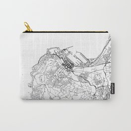 Cape Town City Map South Africa White and Black Carry-All Pouch