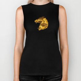 war horse side view with armor retro Biker Tank