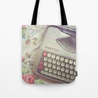 typewriter Tote Bags featuring Typewriter by Beth Retro