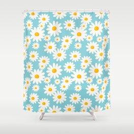 White Daisies Heaven Blue Shower Curtain
