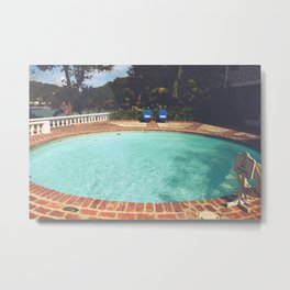 Two Chairs at the Pool Metal Print