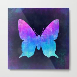 BUTTERFLY IN SPACE // Animal Graphic Art // Watercolor Canvas Painting // Modern Minimal Cute Metal Print