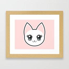 White Anime Eyes Cat Framed Art Print