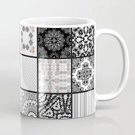 Patchwork . Squares of black, gray Patterns . Coffee Mug