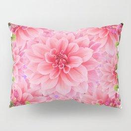 PINK DAHLIA FLOWER GARDEN  YELLOW FLORAL Pillow Sham