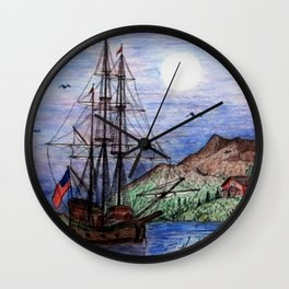 Tall Ship in the Moonlight Wall Clock