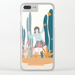 Waving Girl in a Pot Clear iPhone Case