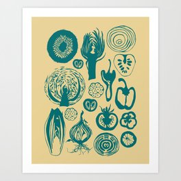 Adorned Fruit and Vegetable Box in Cream and Teal Art Print
