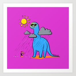 Brachiosaurus - How's the Weather Up There? Art Print