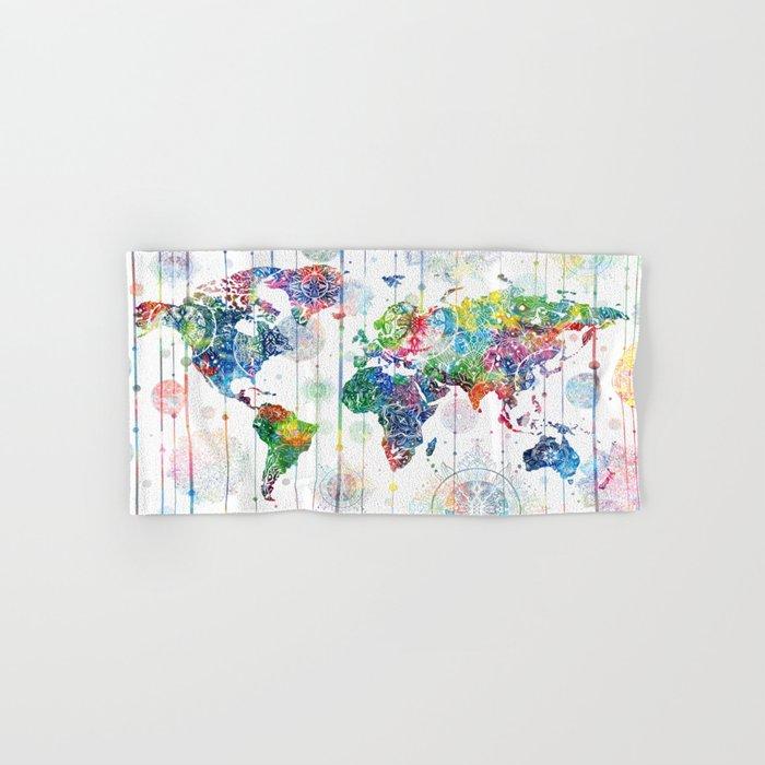 world map mandala white Hand & Bath Towel
