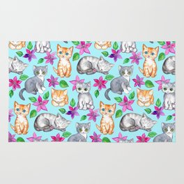 Kittens and Clematis - blue Rug