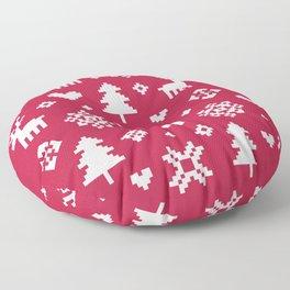 PIXEL PATTERN - WINTER FOREST RED Floor Pillow