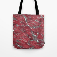 red and grey marble texture Tote Bag