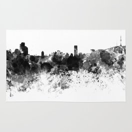 Seoul skyline in black watercolor Rug