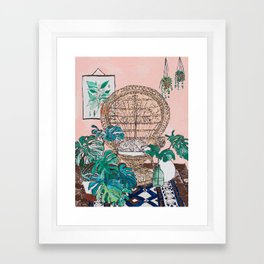 Napping Tabby Cat in Cane Peacock Chair in Tropical Jungle Room Framed Art Print