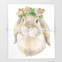 Lop Rabbit Floral Wreath Watercolor Painting Throw Blanket