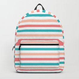 Coral and Aqua Stripes Pattern Backpack
