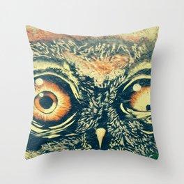Buho owl animal graffiti drawing Throw Pillow