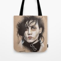 edward scissorhands Tote Bags featuring Edward Scissorhands by Stephanie Nuzzolilo